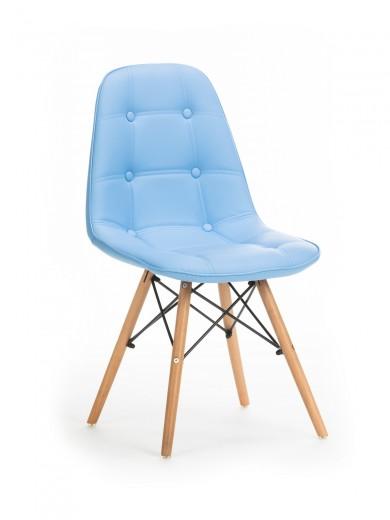 Scaun tapitat cu piele ecologica, cu picioare de lemn Stag Blue, l55xA48xH83 cm