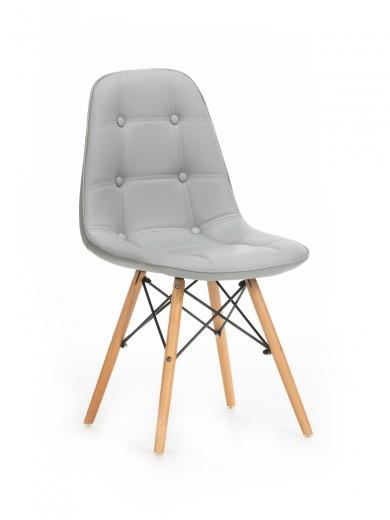 Scaun tapitat cu piele ecologica, cu picioare de lemn Stag Grey, l55xA48xH83 cm