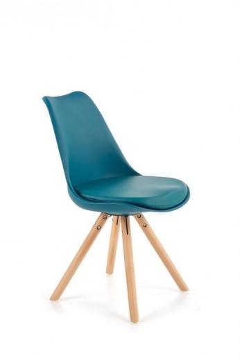 Scaun tapitat cu piele ecologica, cu picioare din lemn K201 Turquoise, l48xA57xH81 cm