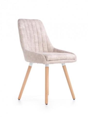 Scaun tapitat cu piele ecologica, cu picioare din lemn K284 Beige, l56xA49xH85 cm