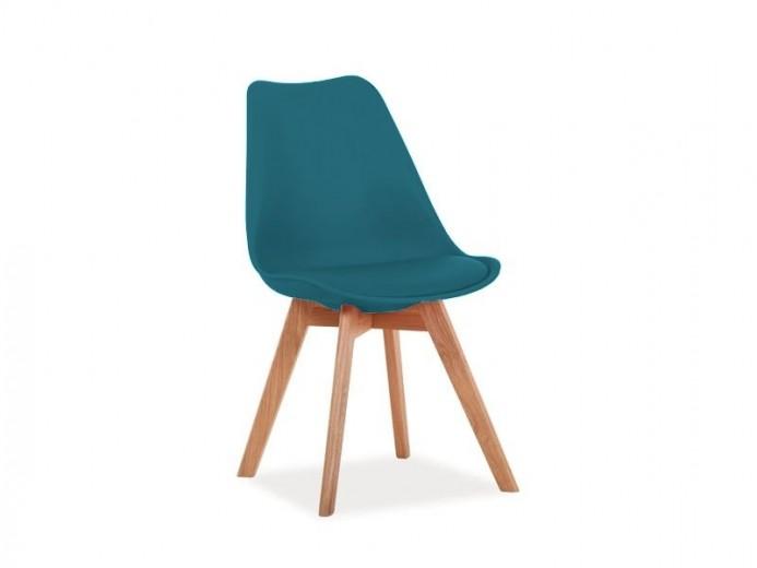 Scaun tapitat cu piele ecologica, cu picioare din lemn Kris Teal / Oak, l49xA41xH83 cm