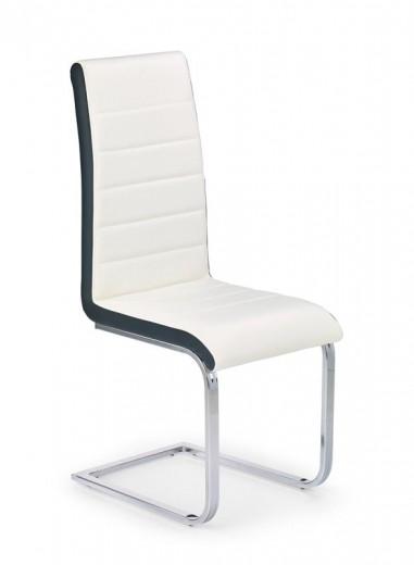 Scaun tapitat cu piele ecologica, cu picioare metalice K132 White / Black, l42xA57xH99 cm