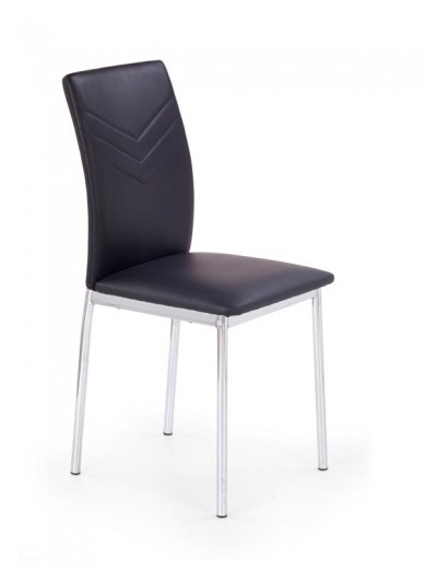 Scaun tapitat cu piele ecologica, cu picioare metalice K137 Black, l40xA49xH88 cm