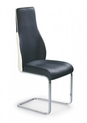 Scaun tapitat cu piele ecologica, cu picioare metalice K141 Black / White, l43xA59xH112 cm