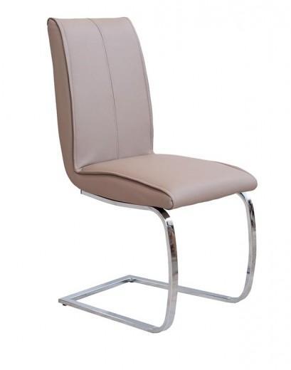 Scaun tapitat cu piele ecologica, cu picioare metalice K177 Cappuccino, l46xA55xH99 cm