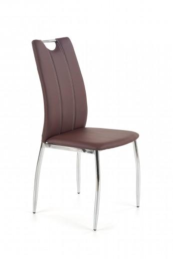 Scaun tapitat cu piele ecologica, cu picioare metalice K187 Maro inchis / Crom, l46xA56xH97 cm