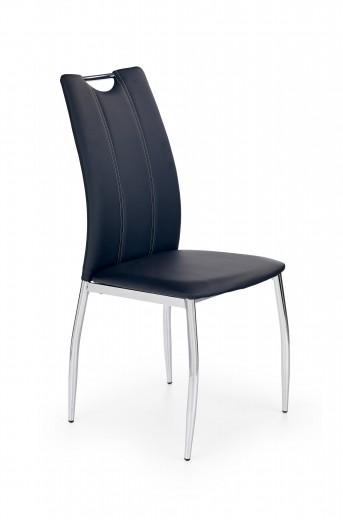 Scaun tapitat cu piele ecologica, cu picioare metalice K187 Negru / Crom, l46xA56xH97 cm
