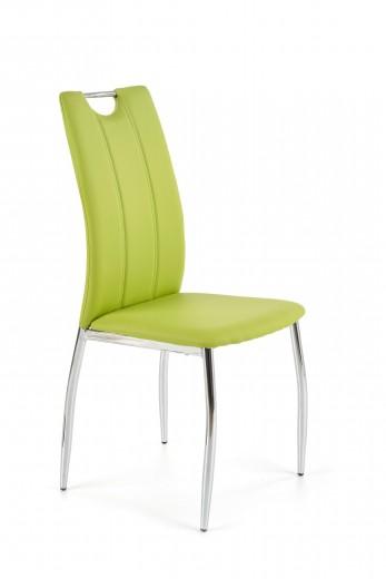 Scaun tapitat cu piele ecologica, cu picioare metalice K187 Lime / Crom, l46xA56xH97 cm