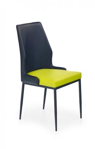 Scaun tapitat cu piele ecologica, cu picioare metalice K199 Black / Lime, l43xA52xH92 cm