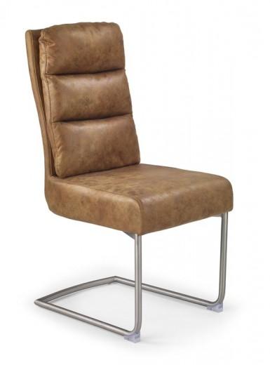 Scaun tapitat cu piele ecologica, cu picioare metalice K207 Brown, l45xA61xH100 cm