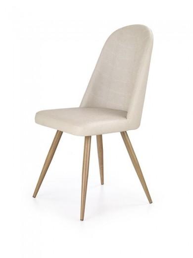 Scaun tapitat cu piele ecologica, cu picioare metalice K214 Dark Cream / Honey Oak, l49xA59xH90 cm