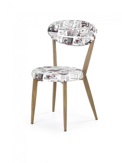 Scaun tapitat cu piele ecologica, cu picioare metalice K215 Multicolour / Honey Oak, l45xA53xH81 cm