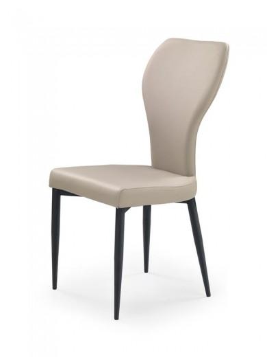 Scaun tapitat cu piele ecologica, cu picioare metalice K217 Cappuccino, l47xA55xH95 cm