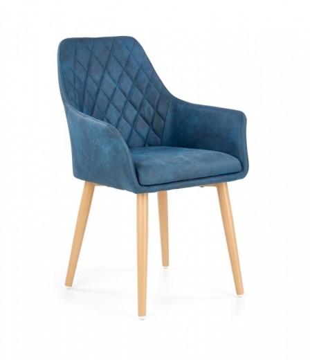Scaun tapitat cu piele ecologica, cu picioare metalice K287 Albastru inchis, l58xA61xH85 cm