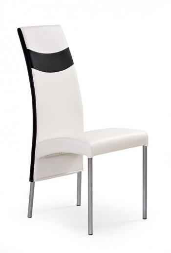 Scaun tapitat cu piele ecologica, cu picioare metalice K51 White / Black, l43xA53xH100 cm