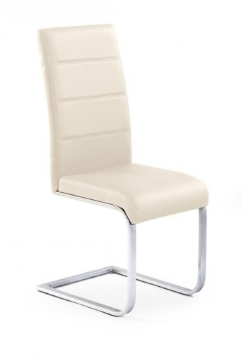 Scaun tapitat cu piele ecologica, cu picioare metalice K85 Dark Cream, l42xA56xH100 cm