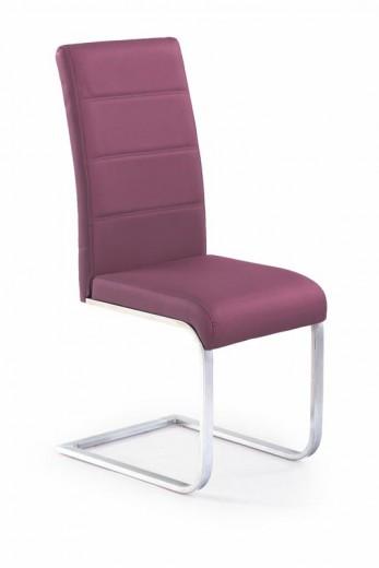 Scaun tapitat cu piele ecologica, cu picioare metalice K85 Purple, l42xA56xH100 cm