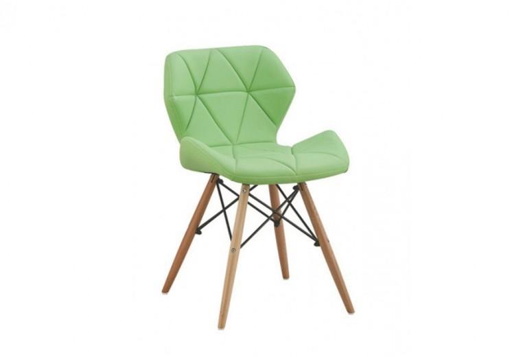 Scaun tapitat cu piele ecologica si picioare de lemn Provence Green, l49xA53xH72 cm