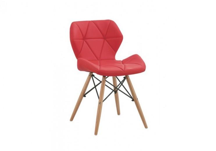 Scaun tapitat cu piele ecologica si picioare de lemn Provence Red, l49xA53xH72 cm