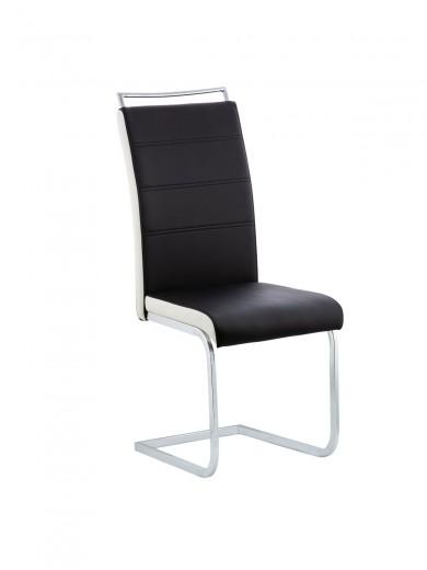 Scaun tapitat cu piele ecologica si picioare din metal Bettie Black, l42xA45xH102 cm