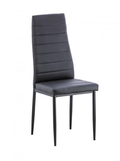 Scaun tapitat cu piele ecologica si picioare din metal Issay Black, l39,5xA38xH96,5 cm