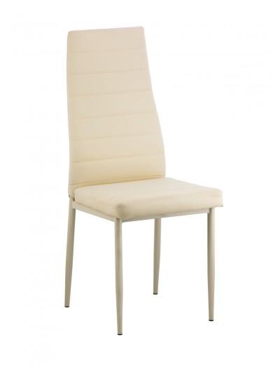 Scaun tapitat cu piele ecologica si picioare din metal Issay Cream, l39,5xA38xH96,5 cm