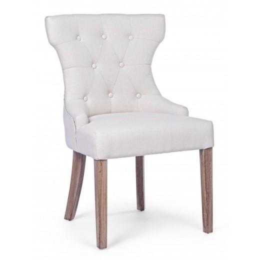 Scaun tapitat cu stofa, cu picioare din lemn Azelia Natural, l55xA52xH92 cm