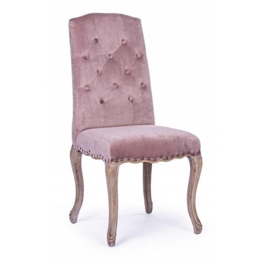 Scaun tapitat cu stofa, cu picioare din lemn Diva Roz, l51xA53xH99 cm