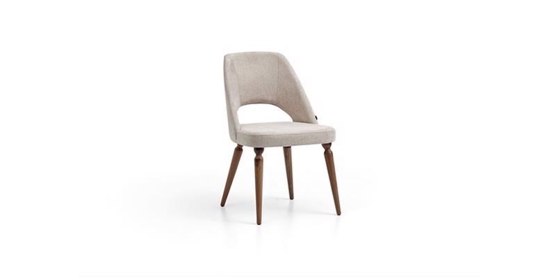 Scaun tapitat cu stofa, cu picioare din lemn Floria Gri deschis / Nuc, l52xA62xH84 cm