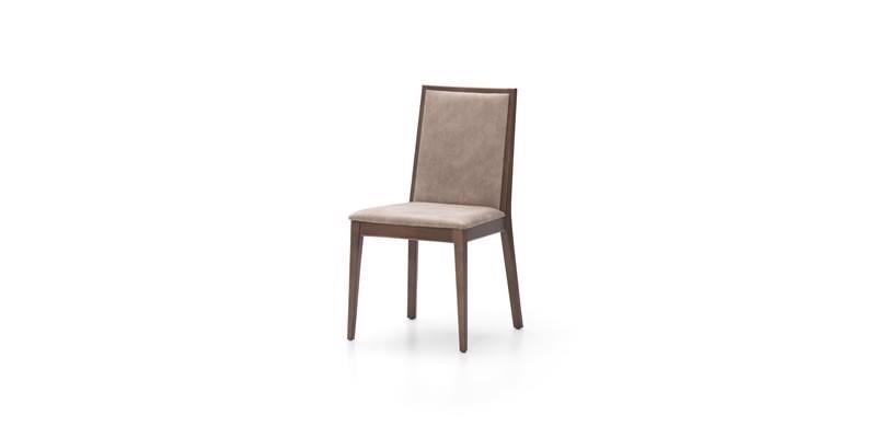 Scaun tapitat cu stofa, cu picioare din lemn Madilyn Bej, l47xA44xH90 cm