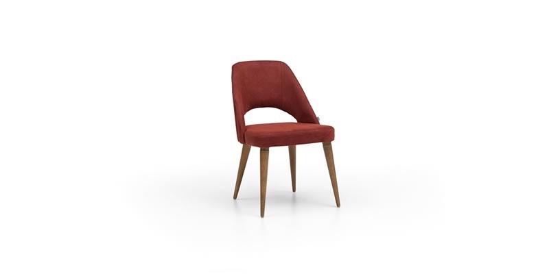 Scaun tapitat cu stofa si picioare din lemn Montana Bordeaux, l52xA48xH85 cm