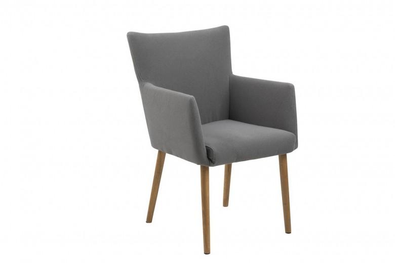 Scaun tapitat cu stofa, cu picioare din lemn Nellie Gri Deschis / Stejar, l57xA61xH87 cm