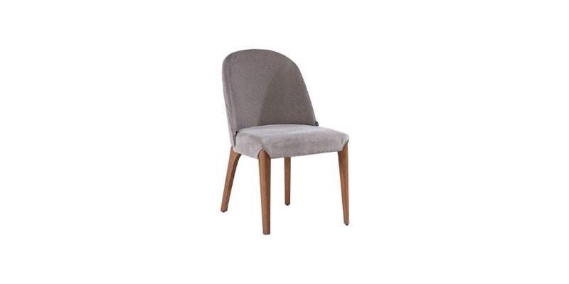 Scaun tapitat cu stofa, cu picioare din lemn Noble Velvet Gri / Nuc, l48xA51xH82 cm