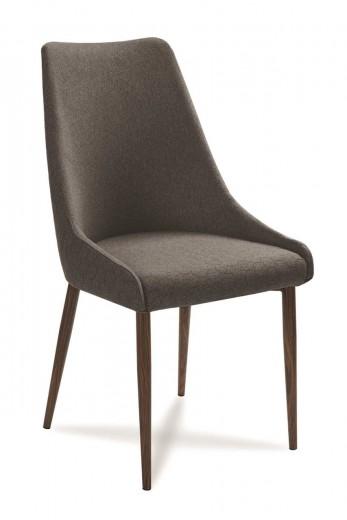 Scaun tapitat cu stofa, cu picioare din lemn Olivier Dark Grey / Walnut, l48xA55xH99 cm