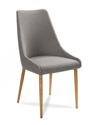Scaun tapitat cu stofa, cu picioare din lemn Olivier Grey / Oak, l48xA55xH99 cm