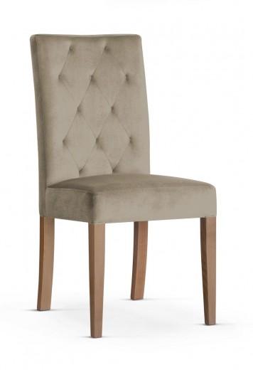 Scaun tapitat cu stofa si picioare din lemn Orlando Velvet Bej / Stejar, l46xA60xH97 cm