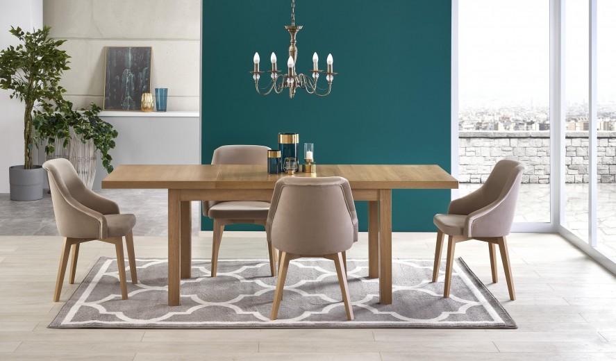 Set masa extensibila din pal si MDF Tiago 2 Stejar Riviera + 4 scaune tapitate Toledo 2 Bej / Stejar, L140-220xl80xH76 cm