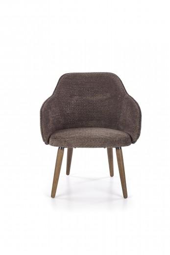 Scaun tapitat cu stofa, cu picioare din lemn Verano Dark Grey / Walnut, l67xA65xH77 cm