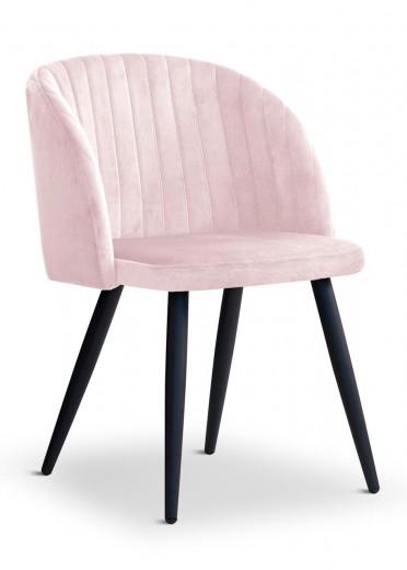 Scaun tapitat cu stofa, cu picioare metalice Adele Pink / Black, l57xA67xH83 cm