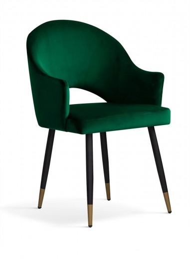 Scaun tapitat cu stofa si picioare metalice Goda Velvet Verde / Negru / Auriu, l54xA58xH87 cm