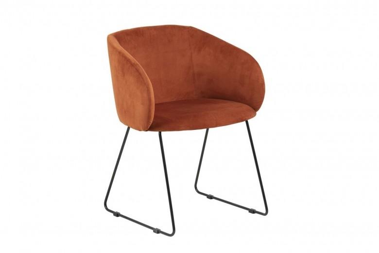 Scaun tapitat cu stofa, cu picioare metalice Hven Caramiziu, l59xA55,5xH80 cm