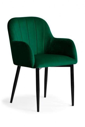 Scaun tapitat cu stofa si picioare metalice Tulip Velvet Verde / Negru, l55xA57xH84 cm