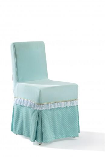 Scaun pentru copii, tapitat cu stofa cu picioare din lemn Summer Paradise Mint, l45xA52xH87 cm