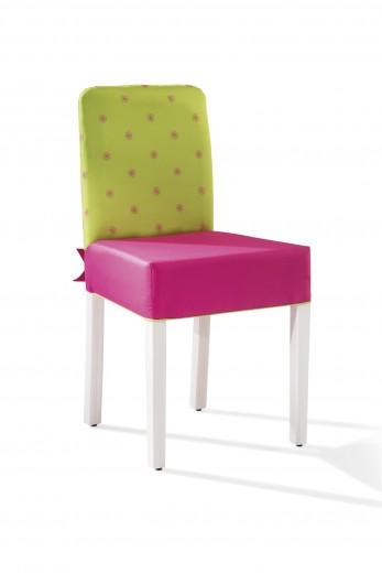 Scaun pentru copii, tapitat cu stofa cu picioare din lemn Ribbon Pink / Green, l43xA49xH87 cm