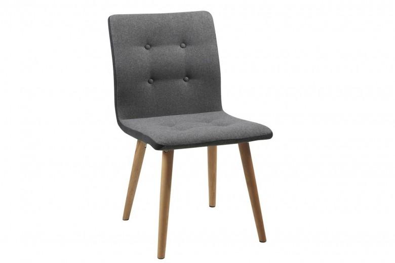 Scaun tapitat cu stofa si picioare din lemn Frida Gri Deschis / Stejar, l43xA55xH88 cm