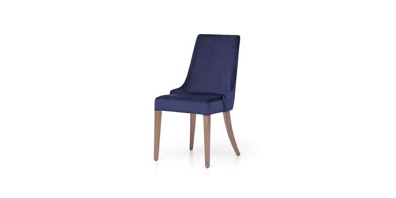 Scaun tapitat cu stofa si picioare din lemn Gold Velvet Bleumarin, l49xA63xH92 cm