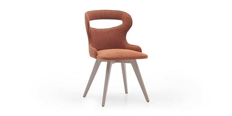 Scaun tapitat cu stofa si picioare din lemn Hector Caramiziu / Gri, l60xA48xH85 cm