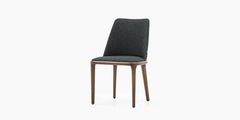 Scaun tapitat cu stofa si picioare din lemn Logan Antracit / Nuc, l47xA47xH85 cm