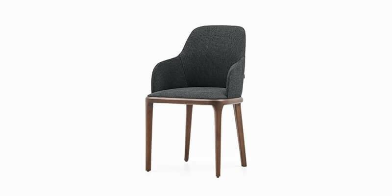 Scaun tapitat cu stofa si picioare din lemn Logan Plus Antracit / Nuc, l47xA47xH85 cm