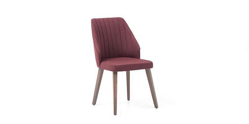 Scaun tapitat cu stofa si picioare din lemn Louisa Bordeaux / Nuc, l60xA48xH85 cm